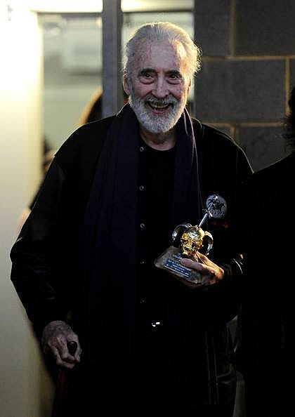"Christopher Lee recieving the ""Spirit of Metal"" award at the 2010 Metal Hammer Golden God Awards ceremony"