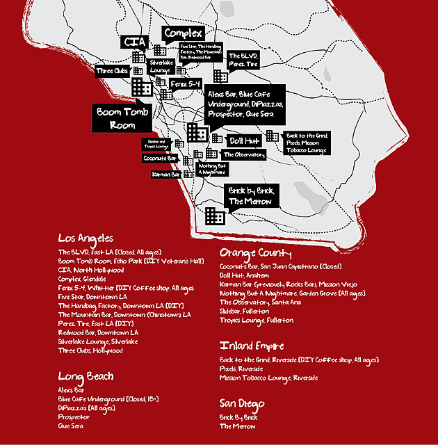 The Midnite Collective bands mapped in greater detail on Southern California.