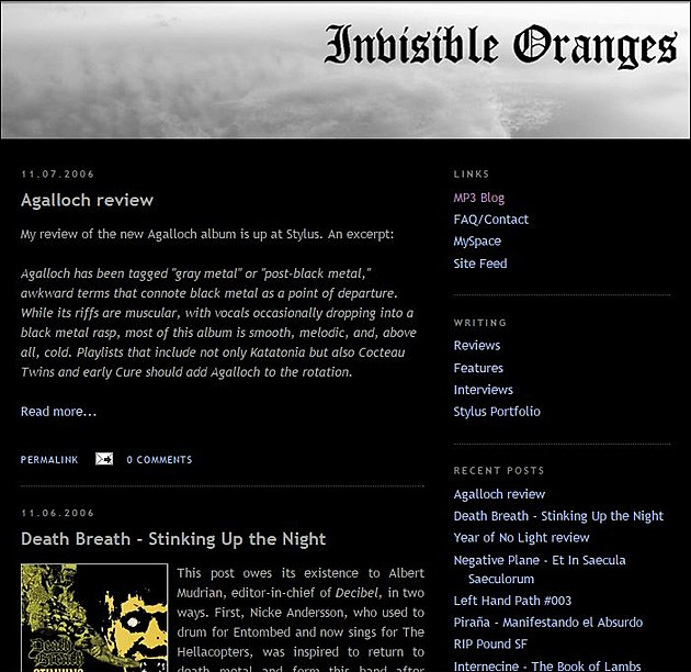 The oldest screen gab of Invisible Oranges, courtesy of The Internet Archive