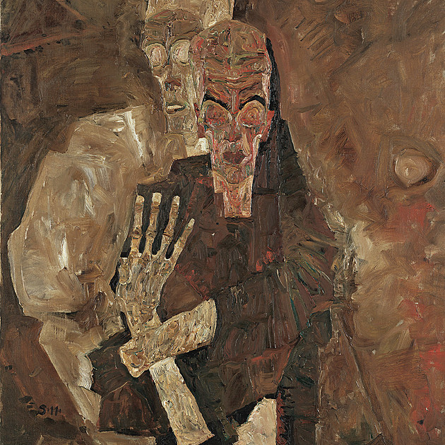 """Tod und Mann"" (Death and Man) by Egon Schiele."